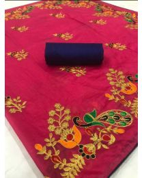Fancy Heavy embroidery cotton saree-007