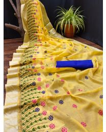 Fancy Heavy embroidery cotton saree-008