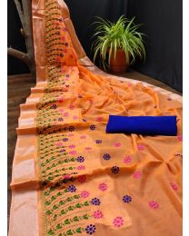 Fancy Heavy embroidery cotton saree-010