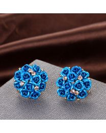 No Mercy Blue Flower Enamel Earring