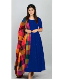 KALA Gown Navy Blue Kurti for Women's-008