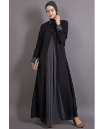 Nazneen Contrast Yoke Black/Grey  Casual Abaya