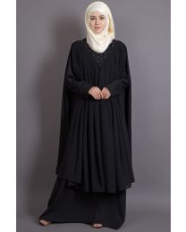 Nazneen embroidered neck band double layer Party Abaya