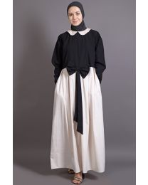 NAZNEEN EMBROIDERED  PETER PAN COLLAR   party Abaya