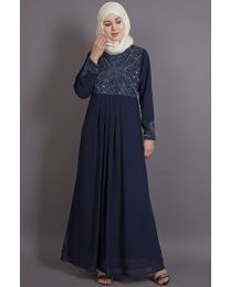 Nazneen Embellished Navy Party Burqown ( Burqa+Gown)