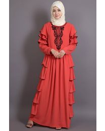 Nazneen Embroidered frill party Abaya Pack of 1