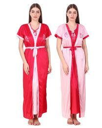 Creer Fashion Red Free Size Night Wear CFT-005 Pack of 2