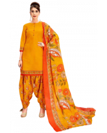Harihar Orange Unstitched Suit for Women's and girl's