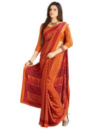 Amam Orange dotted Silk Crepe saree for Women's-0069