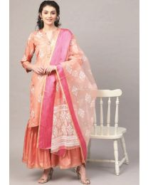 Navya Creations Pink Kurti with Plazzo & Dupatta- NC-007