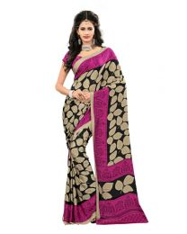 Amam Purple Printed Crepe Saree for Women's-0062