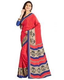 Amam Printed Red Crepe Silk saree for Women's-0065