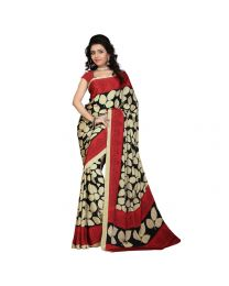 Amam Red Crepe Saree with Blouse for Women's-0061