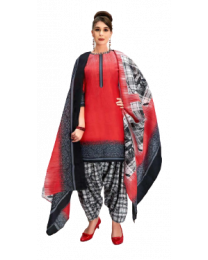 Harihar Red Unstitched Suit Material