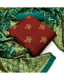 Nice Colours And Combinations Evergreen Beautiful Designer Unstitched Suit-052