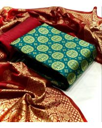 Nice Colours And Combinations Evergreen Beautiful Designer Unstitched Suit-024