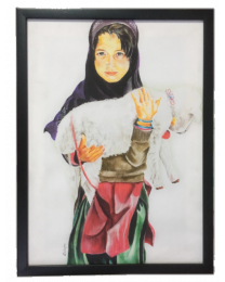 Girl with Baby Lamb Framed Wall Art