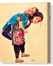 Two Sisters- Fine Art Canvas Print- Wall Art-Stretched
