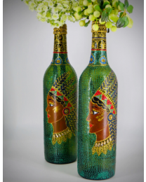 Tribal Beauty Hand Painted Decorative Bottle Vase