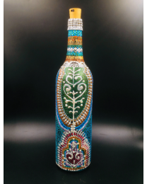Silver Peacock Hand Painted Decorative Bottle Vase