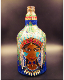 tribal lady hand painted decorative glass bottle light