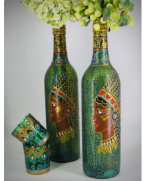 hand painted decorative glass bottle light 12