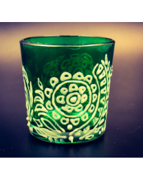 White floral Tea Light Glass Candle Holder- 2.5 x 2.5 Inches
