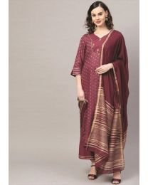 Navya Creations Dark Brown Kurti with Dupatta & Plazzo- NC_011