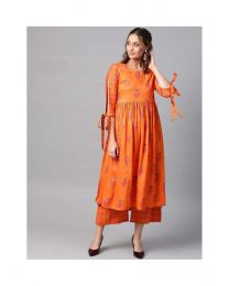 Navya Creations Orange Kurti with Plazzo -NC-0090