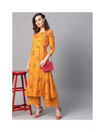 Navya Creations Orange Stylish Kurti With Plazzo-NC-0091
