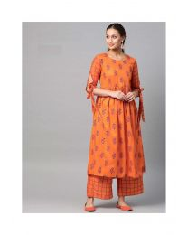 Navya Creations Orange Anarkali Kurti With Plazzo- NC0092