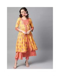 Navya Creations Stylish orange Kurti Wih Plazzo- NC-0093