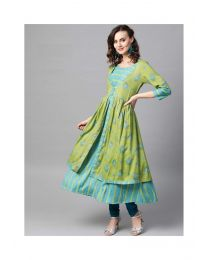 Navya Creation Green Stylish Kurti With Plazzo-NC0094