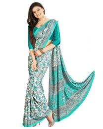 Amam Blue  Silk Crepe saree for Women's-0074