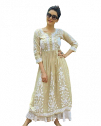 Kala Georgette Cream color Gown kurti with Premium Quality-001