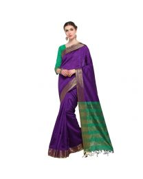 Amam blue Cotton Silk with zalar Saree for Women's-0031
