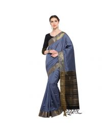 Amam Grey Cotton Silk with zalar Saree for Women's-0033