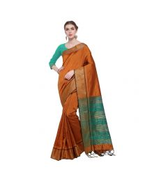Amam Orange Cotton Silk with zalar Saree for Women's-0034