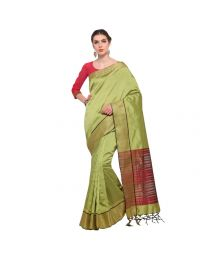 Amam Green Cotton Silk with zalar Saree for Women's-0035