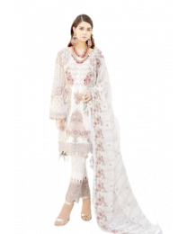 Harihar Free size White Embroided Unstitched Suit for Women's and Girl's-008