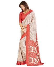 Amam White dotted Silk Crepe saree for Women's-0066