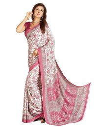 Amam White Printed Silk Crepe saree for Women's-0071