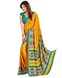 Amam yellow Printed Silk Crepe saree for Women's-0072
