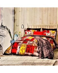 City Red Cotton Printed Double Bed Sheet
