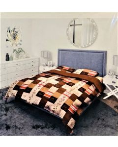 City Brown Cotton Printed Double Bed Sheet