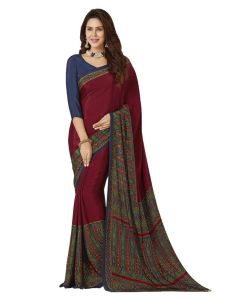 Amam Japan Red Crape Silk saree with blouse for Women's-008