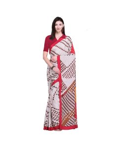 Amam Japan White Crape Silk saree with blouse for Women's-010