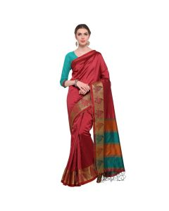 Amam Red Cotton Silk with zalar Saree for Women's-0027