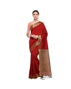 Amam Red Cotton Silk with zalar Saree for Women's-0030